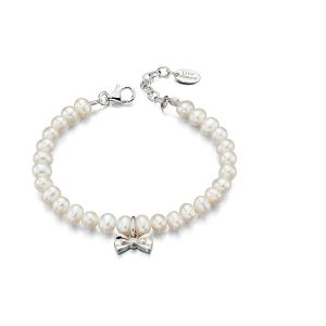 D for Diamond Bow pearl bracelet