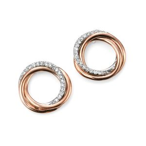 9ct Rose Gold and Diamond open circle Earrings