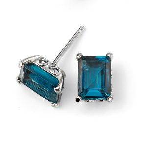 9ct White Gold London Blue Topaz Stud Earring