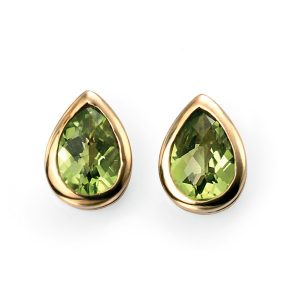 9ct Yellow Gold Peridot checkerboard teardrop studs